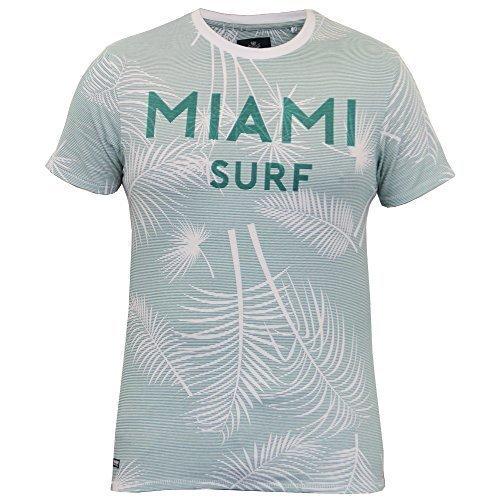 b179e536e075b2 Herren Hawaii T-Shirt Threadbare Palm Tree Miami Surf gestreift Aufdruck  Strand Sommer - grün