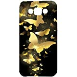 Casotec Golden Butterfly Pattern Design Hard Back Case Cover for Samsung Galaxy E7