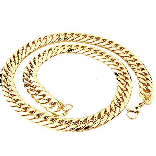 Gold Handmade Link Chain (Mens Stainless Steel Gold Tone 16MM Wide 28