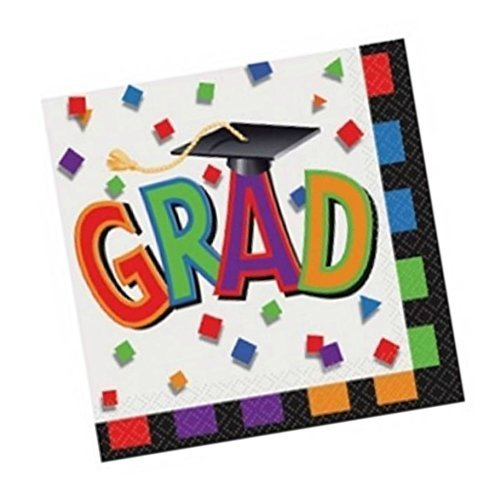 Graduation Mortarboard Multi-color Paper Napkins Bulk Party Pack Luncheon 80 Ct -