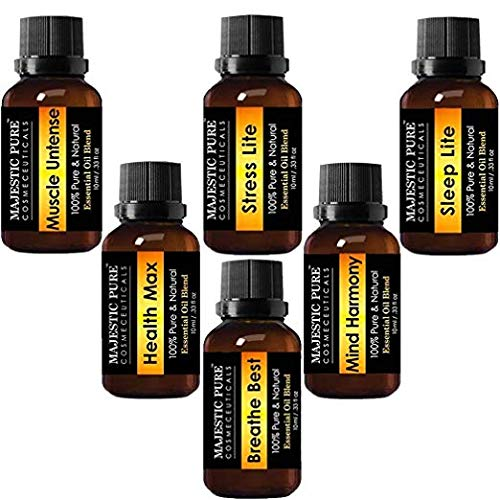 MAJESTIC PURE Essential Oil Blends - Made from Pure Aromatherapy Essential Oils - Sleep Lite, Health Max - Breathe Best, Stress Lite, Muscle Untense, Mind Harmony - for Diffuser use Also - 6/10 ml