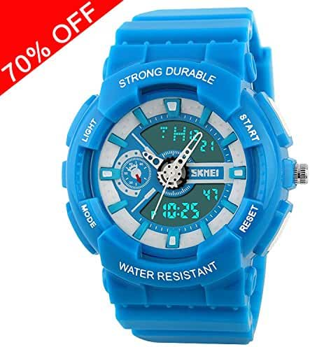 Viliysun Kids Watch Sport 50M Waterproof LED Alarm Stopwatch Digital Child Quartz Wristwatch for Boy Girl Blue