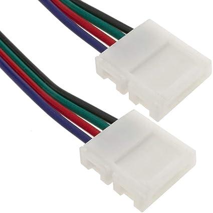 BeMatik - Empalme a presión con cable para tira de LED RGB 10mm