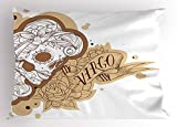 Ambesonne Zodiac Virgo Pillow Sham, Gothic Mexican Female Portrait Sugar Skull Horoscope Tattoo, Decorative Standard Queen Size Printed Pillowcase, 30 X 20 inches, Brown Pale Brown and White