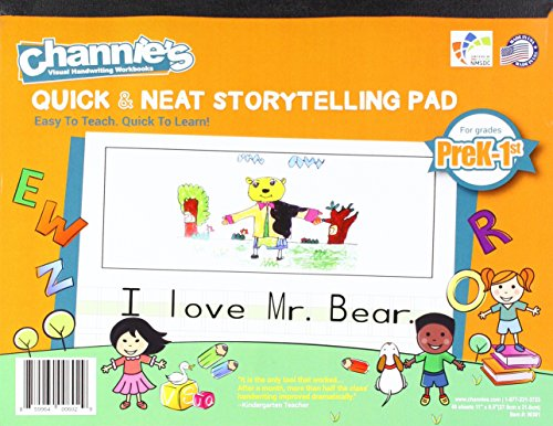 Channie's Visual Handwriting Storytelling Workbooks for Prek-1st grades 40 sheet 80 pages 8 x 11.5 with paper back