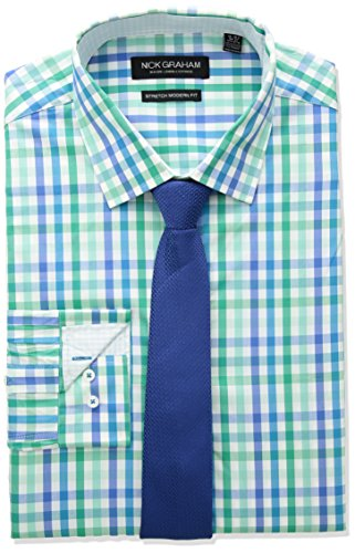 Nick Graham Men's Modern Fitted Multi Gingham Stretch Shirt with Solid tie, Green Aqua, L-R 32/33