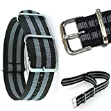 NATO Military Army Nylon Divers Watch Strap Band 20mm width with polished stainless steel buckle