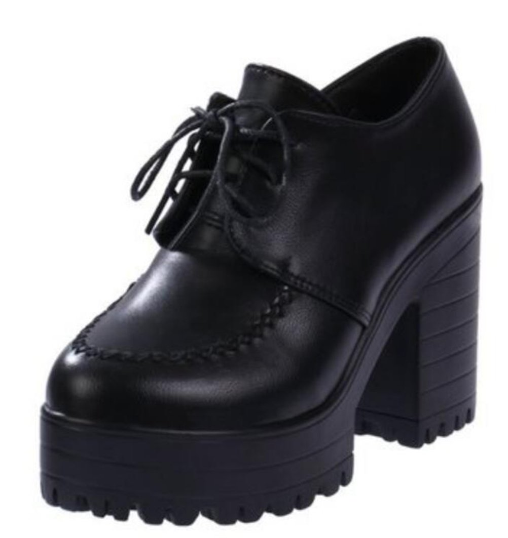 ACE SHOCK Women's Girl's Lolita Low Top Japanese Students Maid Uniform Dress Shoes (7.5, Black)