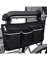 Wheelchair Armrest Bag Pouch, Wheelchair Side Bag Black, Electric Wheelchair Bag Organizer Small for Manual / Electric Wheelchair, Electric Wheelchairs Accessories 4 Pockets with Reflective Strip (32.5 * 18 cm)