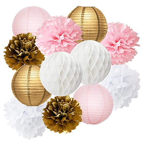 Furuix Baby Shower Decorations 12pcs Pink Gold Party Decorations Tissue Paper Pom Pom Honeycomb Ball and Paper Lantern for One Year Old Girls Princess Birthday Decorations