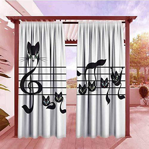 Rod Pocket Pattern Curtains Music Decor Collection Notes Kittens Cat Artwork Notation Tune Children Halloween Style Pattern Simple Stylish W72x84L Black Green Blue ()