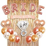PragmaLOV Bachelorette Party Decorations | Bridal Shower Kit | Bride Foil Balloons, Bride to be Sash, Heart Balloons, Rose Gold Balloons, Confetti Balloons, Ring Balloon, Metallic Foil Curtains