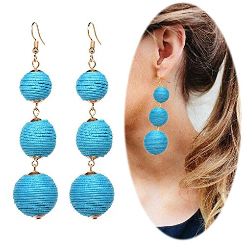 Hot Diamonds Diamond Huggie Earrings (Thread Ball Dangle Earrings Tassel Drop Earring Beaded Lantern Ear Studs Women Linear Tribal Charms Jewelry Turquoise Blue)