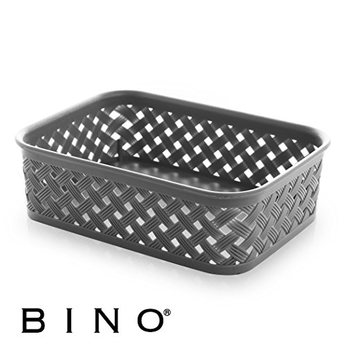 BINO Woven Plastic Storage Basket, Small (Grey)