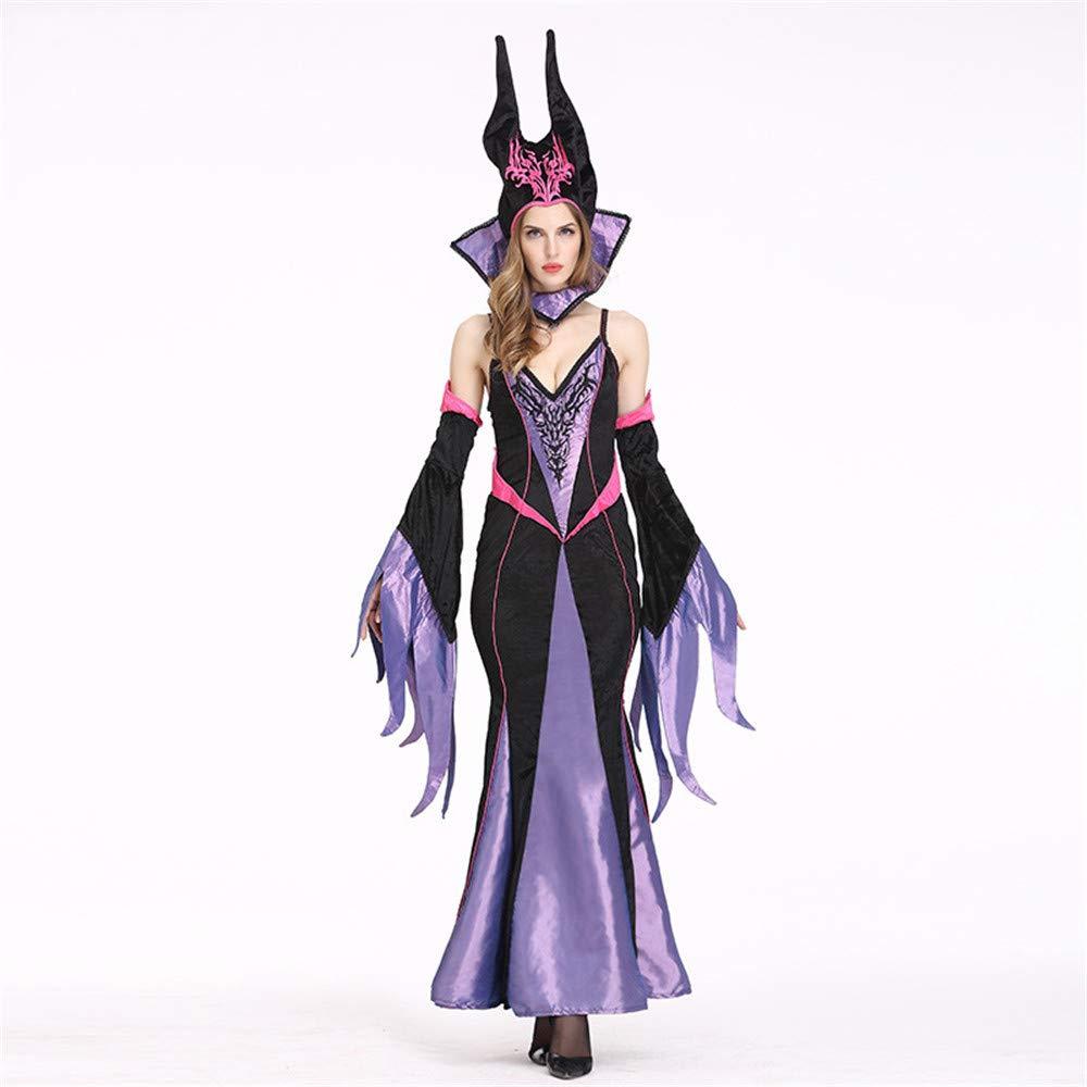 Photo Farbe M ZYFDFZ Purpurrotes Hexen-Kostüm der erwachsenen Frauen-Mädchen mit Hutkragen für Halloween-Party, Maskerade, Bühnenauftritt Cosplay Requisiten (Farbe   Photo Farbe, größe   M)
