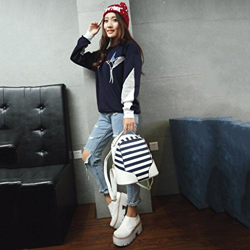 Damen Frauen Mädchen Rucksack Minischulltasche weibliche koreanische Version 2017 neue beiläufige PU-Spielraumfrau-Schulterbeutelstreifen (24 * 12 * 26CM) (weiß)