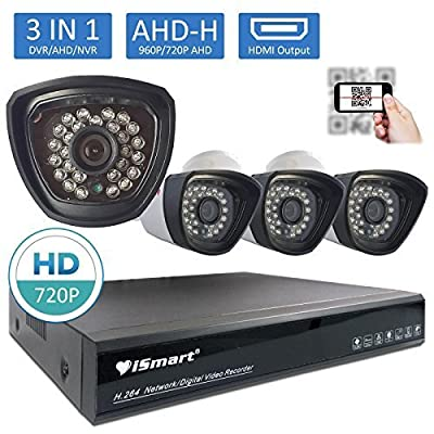 iSmart AHD 4CH 720P Security DVR Video Surveillance System no_HDD 4 Weatherproof 720P Night Vision IR LEDs Indoor/Outdoor AHD High Quality Security Camera P2P QR Code Easy Setup