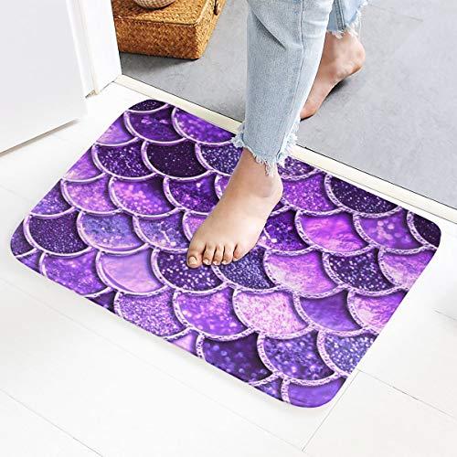 GoldK Purple Mermaid Scale Print Non-Slip Doormat Bath Mat Rug Halloween Decoration(15.75x23.62 Inch)