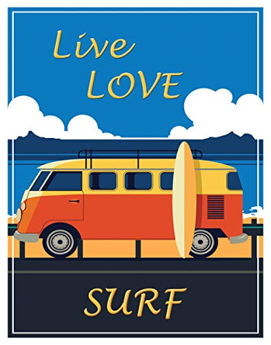 Live Love Surf Fine Art Print Decor- Sea, Beach, Surfing Motivational - 11x14 Unframed Art Print- Gift for Those Passionate For Nature. Great In Beach House, Bedroom or Dorm. Poster Decor Under $20