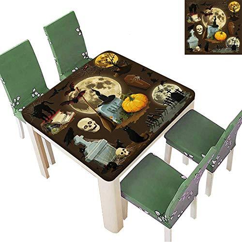 (Printsonne Spring & Summer Outdoor Tablecloth, Clip Art s for Halloween Celebration Multicolor 52 x 52 Inch (Elastic)