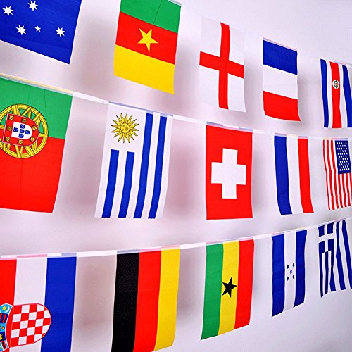 2018 World Cup Flag,32 Teams Countries rectangle Flags Russia World Cup Small String flag, hanging flag,10 meters Length Sport Clue Party Decorations Flags