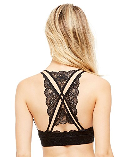 Women's Lace Wire Free Bralette With Sexy Back Detail, Breathable, Unpadded, Comfortable Plunge Bra By SUGAR Intimates Medium