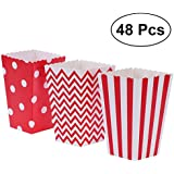 NUOLUX 48pcs Popcorn Boxes Cardboard Candy Container Rugby Stripe Wave Dot Pattern Deco (Red)