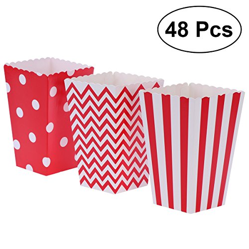 Bar Stripe Rugby (NUOLUX 48pcs Popcorn Boxes Cardboard Candy Container Rugby Stripe Wave Dot Pattern Deco (Red))
