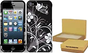 iPhone 5s Case - Rubberized Hard Snap-on Case - White/Silver Flowers Design Cover For Apple iPhone 5 / 5S - TRENDE