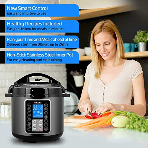 Mueller UltraPot 6Q Pressure Cooker Instant Crock 10 in 1 Pot with German ThermaV Tech, Cook 2 Dishes at Once, BONUS Tempered Glass Lid incl, Saute, Steamer, Slow, Rice, Yogurt, Maker, Sterilizer by Mueller Austria (Image #5)