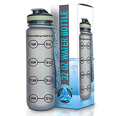 Three Drops of Life New 32 oz Sports Water Bottle, Best Original Frosted Gray Time Tracker and Goal Timer Bottle Design for H2O Monitoring, Diet, Nutrition and Fitness