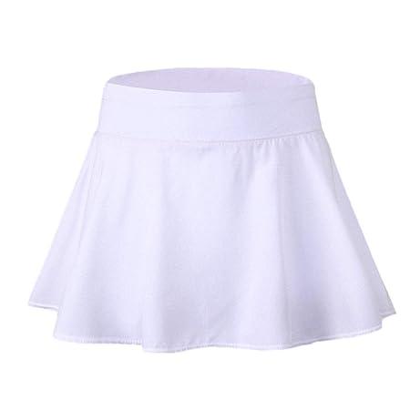 Liuf Falda Plisada para Mujer, Blanco, Small: Amazon.es: Hogar