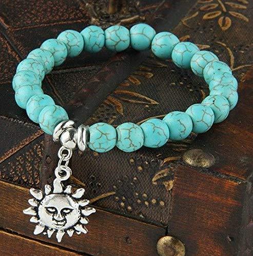 (Sandover Beads Chain Bracelet Charms Stone Turquoise Bangle Heart Tree Dog Paws Jewelry | Model BRCLT - 48670 |)