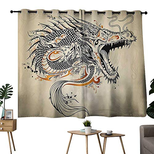 NUOMANAN Pattern Curtains Japanese Dragon,Doodle Style Roaring Creature with Tail Fangs Scales Tribal Details,Tan Black Gold,Living Room and Bedroom Multicolor Printed Curtain Sets 42
