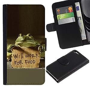 LASTONE PHONE CASE / Lujo Billetera de Cuero Caso del tirón Titular de la tarjeta Flip Carcasa Funda para Apple Iphone 5 / 5S / Funny Will Work For Food Frog