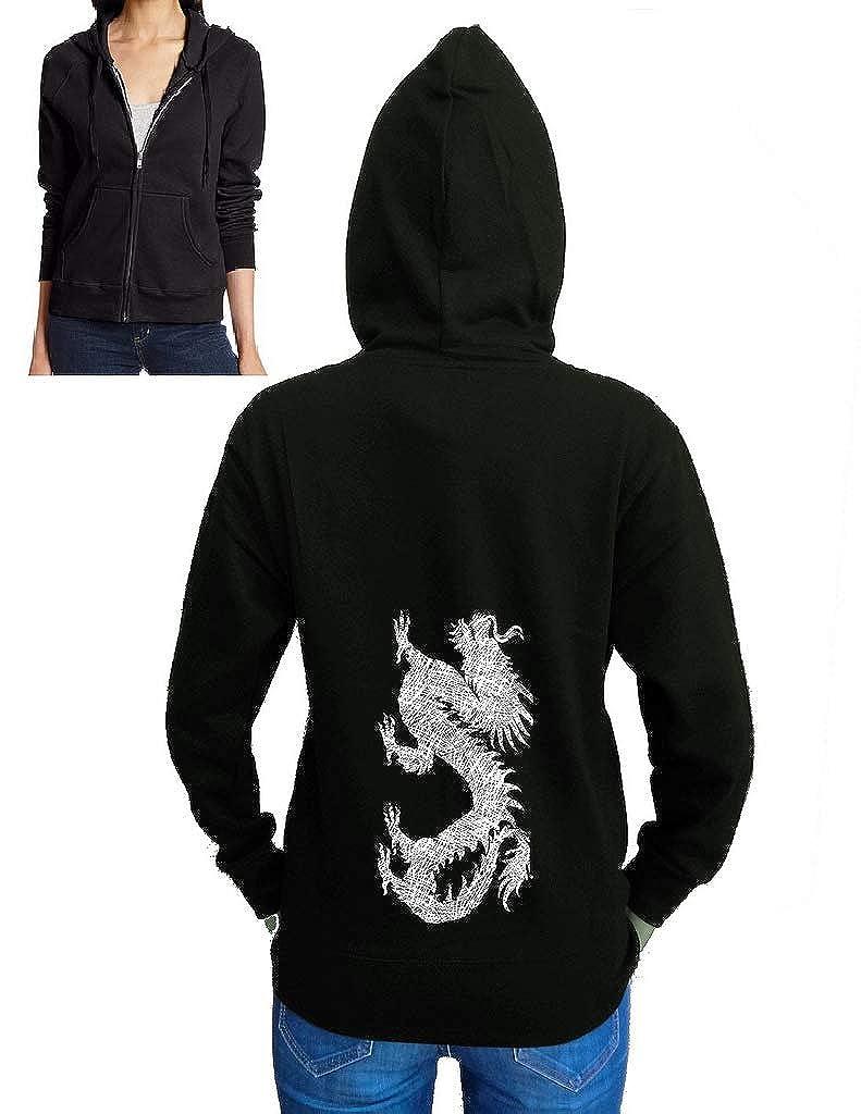 Juniors Sketch Dragon Black Fleece Zipper Hoodie Black