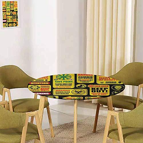 UHOO2018 Zombie,Dining Tablecloth Retro Apocalypse Signs Restaurant Party Decoration(Elastic Edged) 35.5