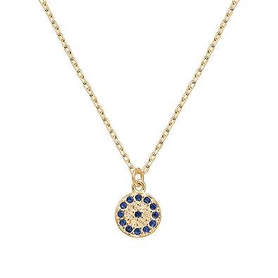 Amazon com: CHUYUN Silver Necklace Turkey Round Evil Eye Necklaces