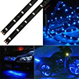 Glumes Light Bar LED Flexible Strip, 2 x 30cm 15 LED, Waterproof Truck Tailgate Running Turn Signal Brake Reverse Tail light For Pickup Trailer SUV RV VAN Car Towing Vehicle,No-Drill (blue)