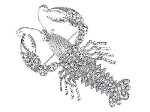 - Alilang Nautical Ocean Animal Lobster Crawfish with Movable Tail Novelty Sea Fish Novelty Brooch Pin