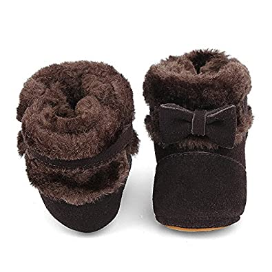 Genda 2Archer Baby Toddler Boys Girls Bowknot Warm Snow Boots Fleece First Walkers Shoes