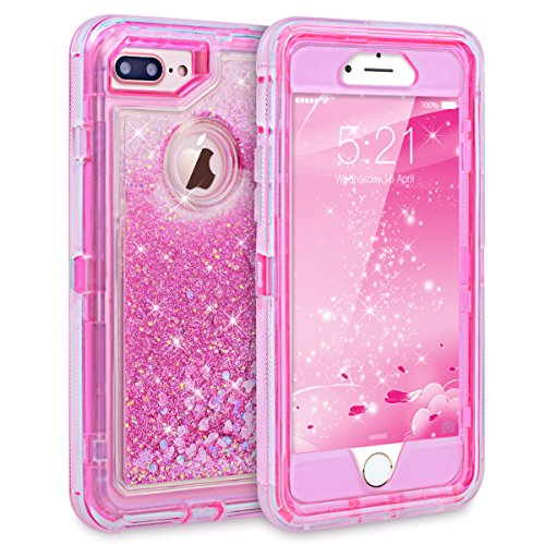 Dexnor iPhone 7 Plus Case Glitter 3D Bling Sparkle Flowing Liquid Transparent 3 in 1 Shockproof TPU Silicone Core + PC Frame Protective Defender Cover for iPhone 8 Plus/7 Plus/6s Plus - Pink