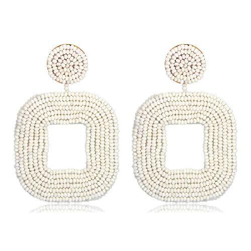 (Beaded Drop Earrings,NLCAC Beaded Square Earrings Bohemian Beaded Hoop Dangle Earrings for Women Girls (White))