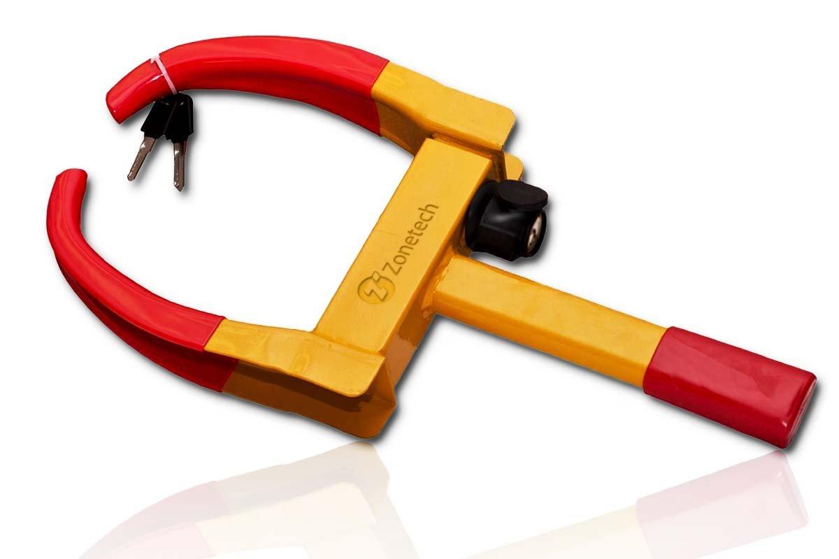 Wheel Lock Security Tire Clamp - Zone Tech Premium Quality Heavy Duty Anti- Theft Protective Vehicle Wheel Lock