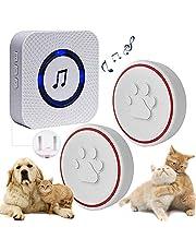 ChunHee Draadloze deurbel voor honden en huisdieren, deurbel met sensor, aanraking, ontvanger, stopcontact, 55 beltonen en 5 niveaus instelbaar volume, waterdichte zender