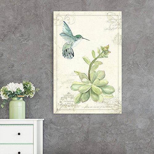 Vintage Style Humming Bird Flying Towards a Flower