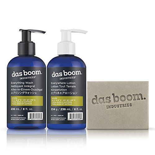 Das Boom Body Basics Set (Soap, Lotion, Wash) - Kyoto (Yuzu, Shiso, & Saffron)