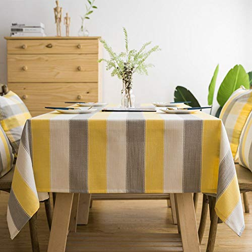 Lahome Stripe Tablecloth - Water Resistant Heavy WeightCotton Linen Table Cover Kitchen Dining Room Restaurant Party Decoration (Gray/Yellow, Rectangle-53 x 86