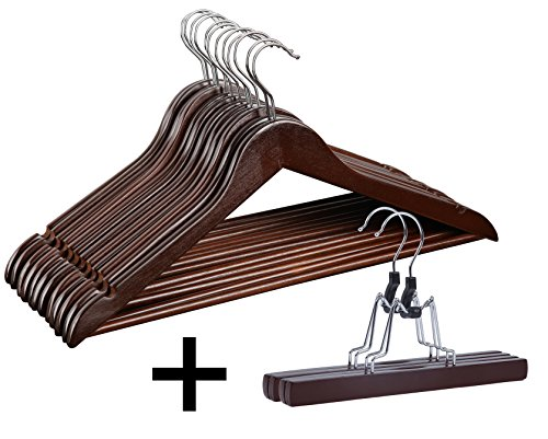 Finnhomy 20 Pack Wooden Hangers - Solid Wood Suit Coat Hangers - Sturdy Clothes Hangers with Non-slip Hanging Bar and Extra Skirt Hangers, Cherry