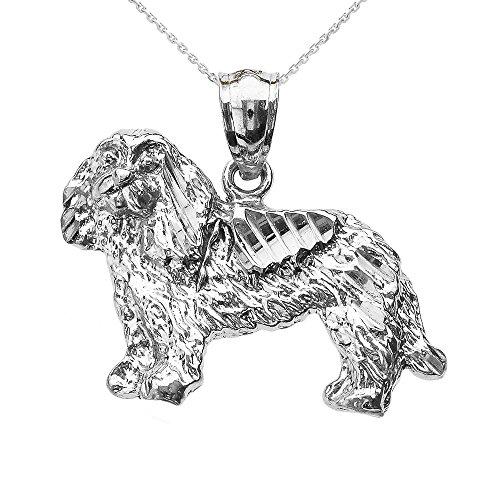 Collier Femme Pendentif 10 Ct Or Blanc Diamant Coupe Roi Charles Spaniel (Livré avec une 45cm Chaîne)